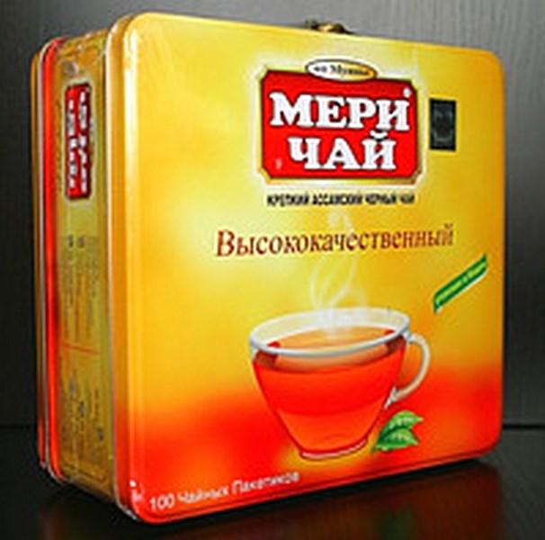 Мери Чай черный 100 пакетов в железной коробке упакован в Индии